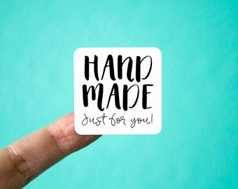 Handmade Labels | Packaging Stickers | Square Shape | Handmade Just for You Stickers | Shop Supplies | Shipping Supplies