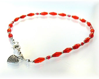 Red Beaded Ankle Bracelet, Red Anklet with Heart, Pretty Ankle Bracelet Sterling Silver,  - AB2014-02a