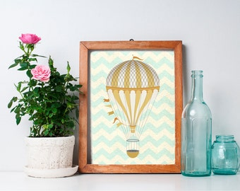 Hot Air Balloon Decor - 8x10 Nursery Art, Hot Air Balloon Print, Home Decor, Nursery Decor, Printable Art, Wall Art