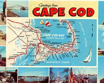 Cape Cod Natucket Martha's Vineyard Map Vintage Postcard (unused)
