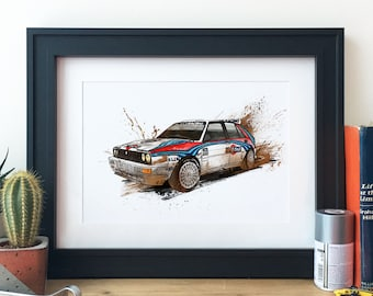 Lancia Delta Intergrale Group B Rally Car Illustration