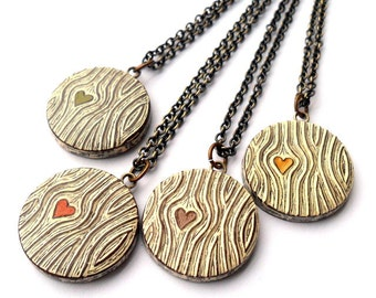 Tiny Wood Grain Heart Necklace - Wood You Love Me - Faux Bois
