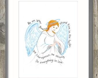Guardian Angel scripture design print