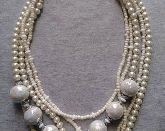 Creamy White Beaded Necklace