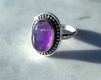 SALE / Amethyst Statement Cocktail Ring in Sterling Silver- Size 8