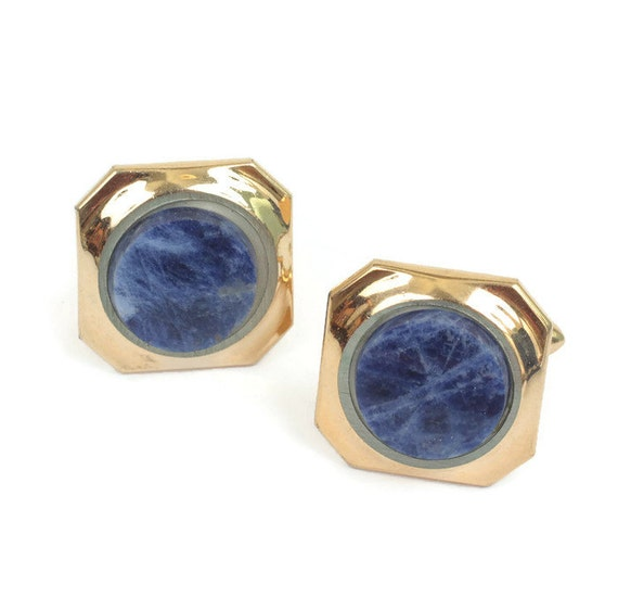 Sodalite Cuff Links Blue Gemstone Gold Tone Squared Swivel Backs  Vintage