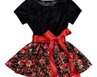 Black Velvet Floral Swing Dress