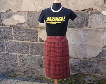 Vintage skirt, midi skirt Red skirt, plaid skirt, red Plaid, red Plaid skirt, wool skirt, skirt Lewinger, 60's
