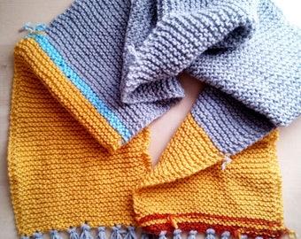 Scarf long wool fringed unisex men's women stripes color grey auburn blue mustard-seventy scarf 70s stripes
