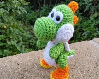 Yoshi Plushie, Yarn Yoshi, Crochet Stuffed Yoshi, Yoshi's Wooly World