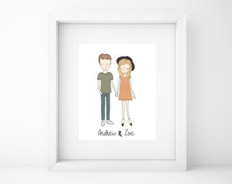 Custom Couple Illustration/Family Portrait/Custom Family Illustration/Couple Illustration/Gift for him/Gift for her/Wall Art/Valentines day