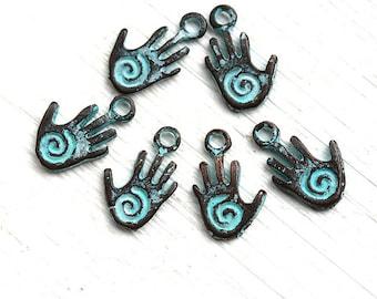 Hamsa hand charms, spiritual metal charm, spiral on hand, boho charms, patina on copper, healing hand bead - 13mm - 6Pc - F210