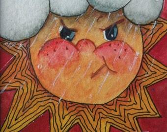 Watercolor Painting Original Art Card of Sun Original Painting Folk Art Card Childrens Art Artist Trading Card