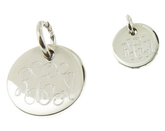 925 Sterling Silver Round Monogram Charm 10mm to 18mm