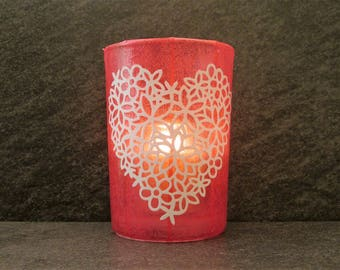 Floral Heart Large Votive Candle Holder with Candle