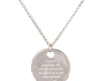 Personalised Roald Dahl quote round pendant, Sterling silver or gold pendant, inspirational pendant, gift, women's jewellery. FREE SHIPPING.