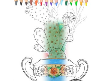 Coloring book for adults, Cactus, sugar bowl.