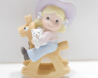 Vintage Homco #1417 (Home Interiors) Little Cowgirl on Rocking Horse (17-D)