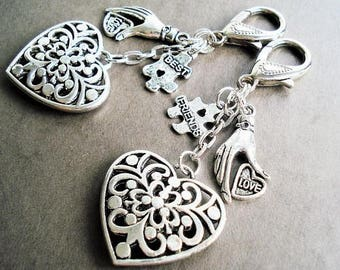 Best Friends Keychain Purse Charm Zipper Pull Best Friend Key Ring Gift For Friend Puzzle Key Chain Handbag Charm Key Ring Heart Car Charm
