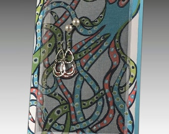 Wood Frame Earring Holder for Pierced Earrings - Colorful Earring Organizer on Hand Painted Screen. Octopus Design. Great Gift