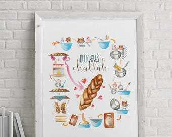 Challah, Mother's Day Gift, Jewish Gift, Food Poster, Kitchen Art, Jewish Cooking, Baking Art, Challah Poster, Jewish Home, Digital Download