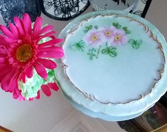 Vintage chic hand painted trivet....ceramic...signed...1957...signed...mint green...roses..gold gilding...Shabby Chic trivret