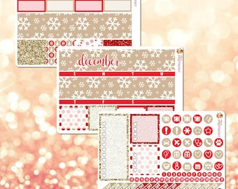 December / Cozy Red & Beige Monthly Kit, Monthly View Sticker Kit for Erin Condren Life Planner - 106 stickers!