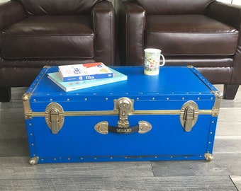 Vintage Blue Storage Trunk, Footlocker, Coffeetable Trunk, Dorm Room Storage
