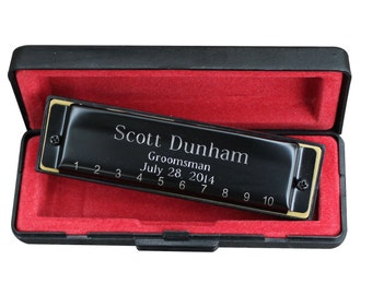 Personalized Black Harmonica - Groomsmen Gift - Best Man Gift - Fathers Day Gift - Ringbearer - Engraved - Customized - Monogrammed for Free