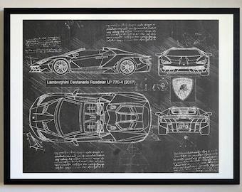 Lamborghini Centenario Roadster LP 770 4 (2017) Lambo Artwork, Blueprint  Specs,