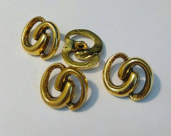 Set of 4 beautiful gold metal buttons