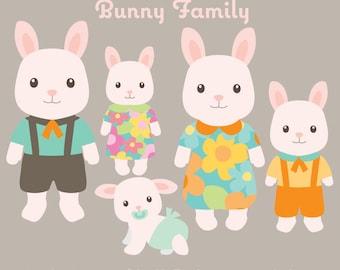 Animal Clipart - Bunny Family Clip art - Bunny Clipart -  Rabbit Clipart  Animal Family Clipart - Cute Animals