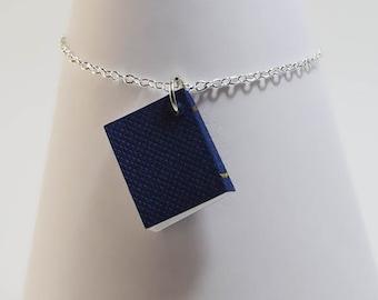 Book necklace, 925 silver chain, mini book jewelry, mini book charm, book lover gift, bookworm, literature jewelry, graduation gift
