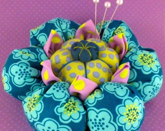 Pincushion Pattern Cactus Flower Tutorial  PDF Succulent Pincushion Quilter Folded Fabric Flower Cactus Blossom Kaffe Fassett La Todera