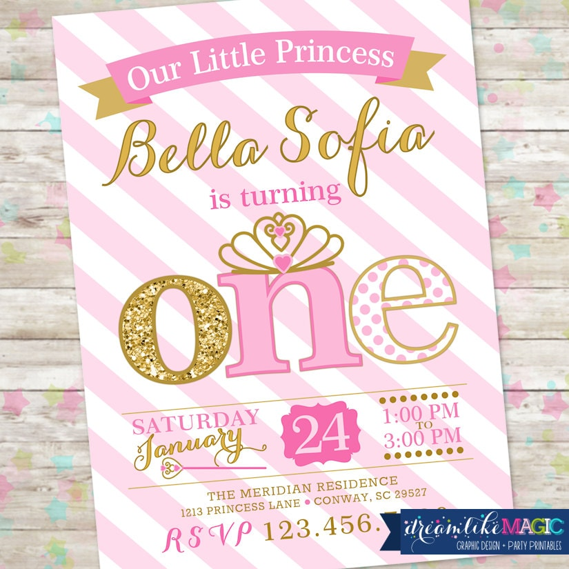 Princess Birthday Invitation 1st Birthday Party Invite Pink