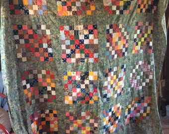 Now 20% off  ANTIQUE QUILT TOP, coverlet, patchwork, 19th century fabrics, hand sewn, paisley