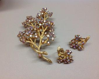 Vintage Tree Pin and Earrings Aurora Borealis