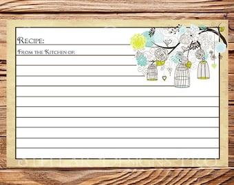 Recipe Card, Vintage Birdcage,Vintage Recipe Card, Birds, Birdcages, Brown -A98