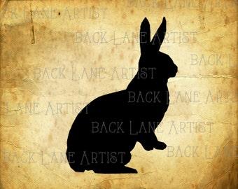 Bunny Rabbit Silhouette Clipart Illustration Instant Download PNG JPG Digi Line Art Image Drawing L073