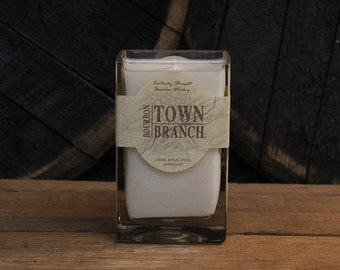 Upcycled Town Branch Bourbon Candle - Recycled Bourbon Bottle Candle Handmade Soy Candle Father's Day Gift 18oz Soy Wax Man Candle