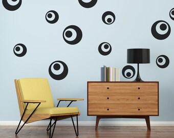 Circle Wall Decals, Retro Wall Decal, Mid Century Decals, Modern Nursery  Decor,