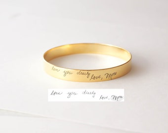 Custom Handwriting Jewelry • Actual Handwriting Cuff Bracelet • Handwriting Bangle • Signature Bangle • Sympathy Gift • Mother Gift • BM27