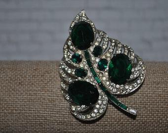 Green Joseph Wiesner Vintage Brooch