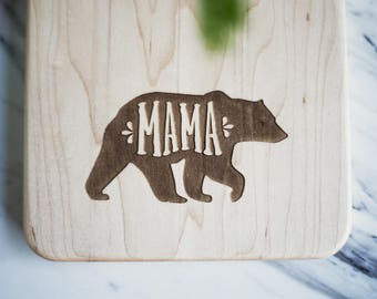 "Mother's Day Gift -  Cutting Board ""MAMA"" BEAR Engraved Small Maple Wood Cutting Board with Handle, Wood Serving Board, Paddle Board"