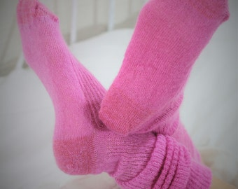 PINK - Bed Socks SILK/Mohair - Handmade Knee High - Silky Soft Luxe Socks - Happy Pink - 80s Fashion - Bright - Candyfloss