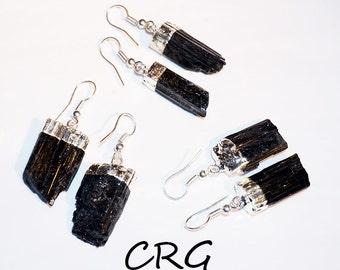 Raw Tourmaline Silver Plated Earrings, Tourmaline Crystal, Black Tourmaline, Natural Tourmaline, Dangle Earrings (ER10BT)