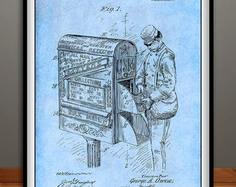 1906 Postal Mail Box, Letter Carrier Patent Print, Mail Carrier, Mailman Gift, Letter Carrier Gift, US Mail Box, Postal Worker Gift