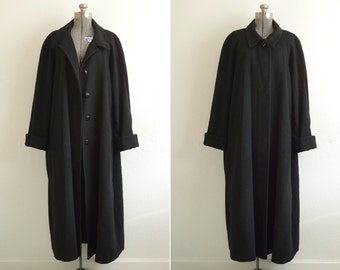 1980s Fleurette Saks 5th Avenue Camel Hair Collection Black Long Overcoat | ILGWU Made in the USA