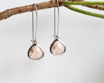 Peach Topaz Earrings - Silver Dangle - Earrings - Stone Earrings - Drop Earrings - Birthstone Earrings - Topaz Earrings - Topaz Jewellery