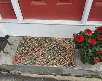 Maine Rope Mat, Recycled lobster rope, Maine made, Nautical outdoor mat, Vibrant doormet by Wharf Warp